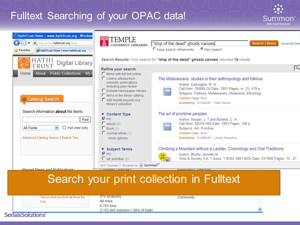 Fulltext Searching of your OPAC data! Search your print collection in Fulltext
