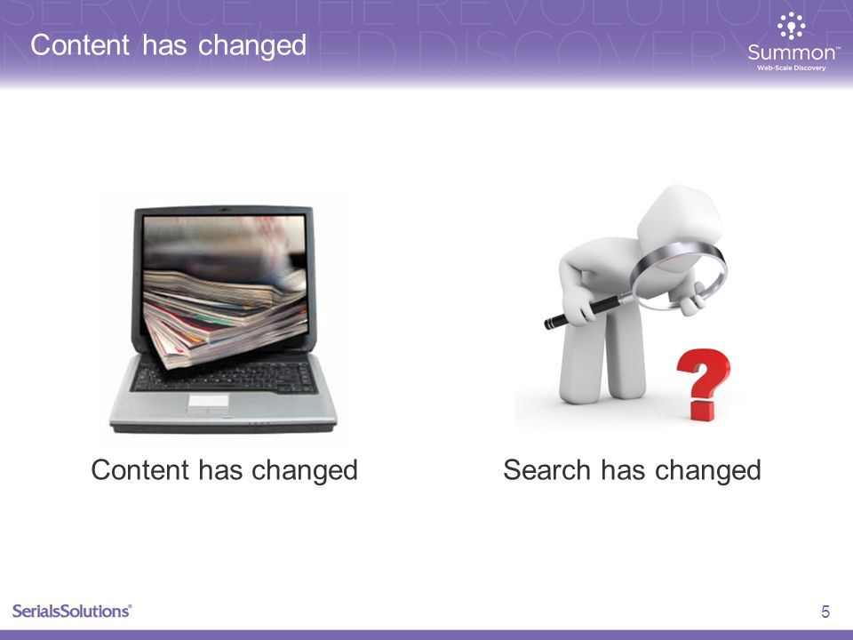 Content has changed 5 Search has changed