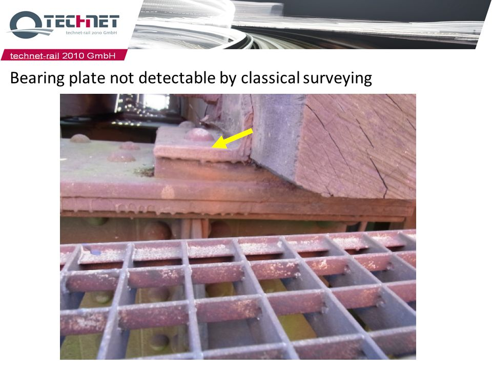 07.04.2014 Bearing plate not detectable by classical surveying Rail force bearer with plates (height coded coloring) Hier sieht man die Höhendifferenz