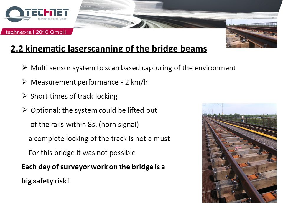 2.2 kinematic laserscanning of the bridge beams Multi sensor system to scan based capturing of the environment Measurement performance - 2 km/h Short