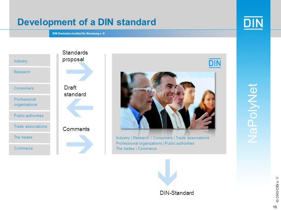 DIN Deutsches Institut für Normung e. V. NaPolyNet © 2009 DIN e. V. 10 Development of a DIN standard Standards proposal Draft standard Comments DIN-St