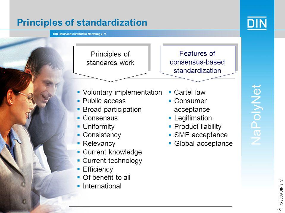 DIN Deutsches Institut für Normung e. V. NaPolyNet © 2009 DIN e. V. 15 Principles of standardization Voluntary implementation Public access Broad part