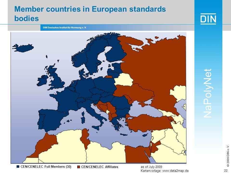 DIN Deutsches Institut für Normung e. V. NaPolyNet © 2009 DIN e. V. 22 Member countries in European standards bodies CEN/CENELEC Full Members (30) CEN