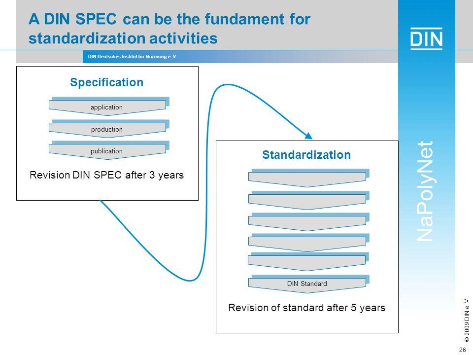 DIN Deutsches Institut für Normung e. V. NaPolyNet © 2009 DIN e. V. 26 DIN Standard Standardization production publication application Specification R
