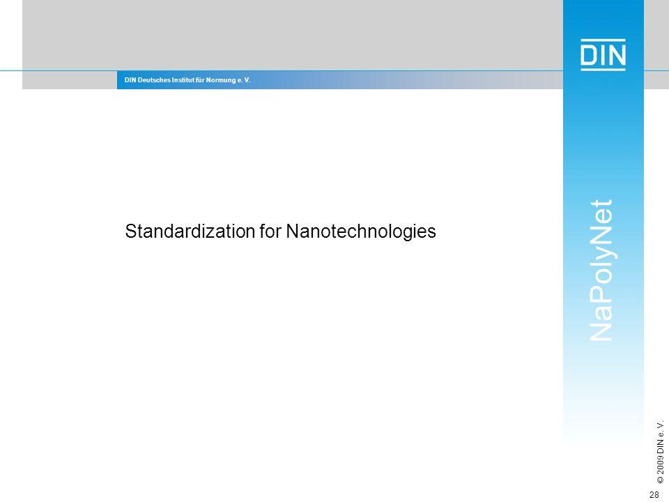 DIN Deutsches Institut für Normung e. V. NaPolyNet © 2009 DIN e. V. 28 Standardization for Nanotechnologies
