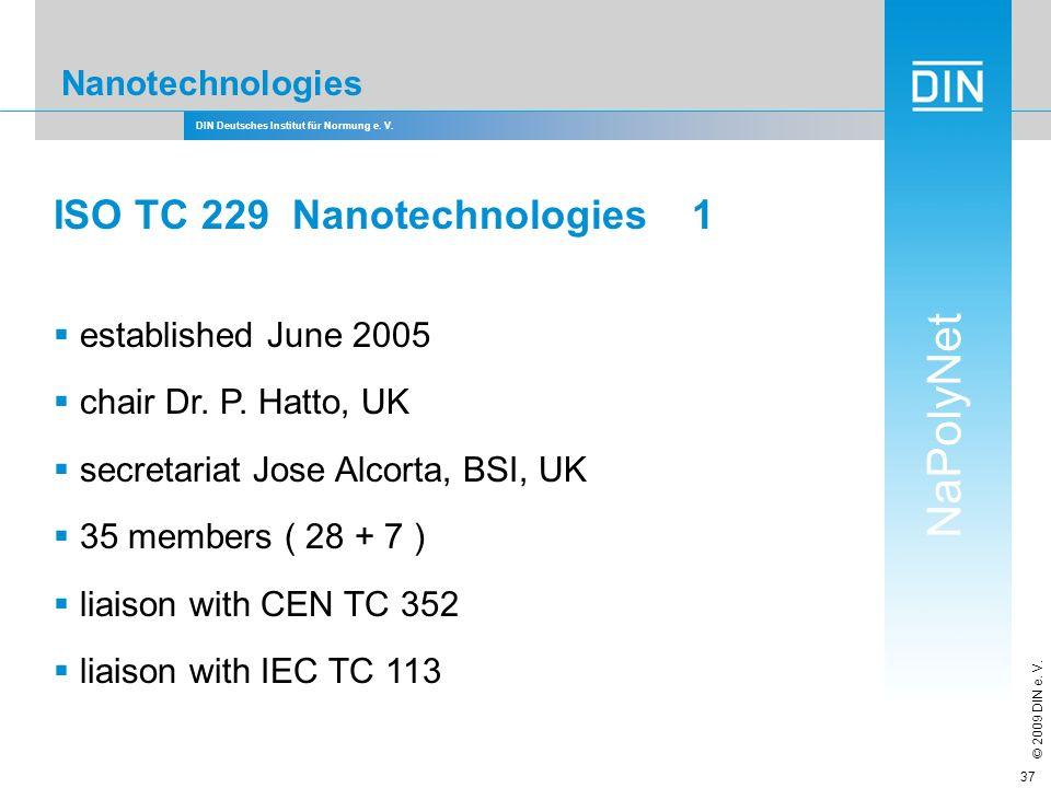 DIN Deutsches Institut für Normung e. V. NaPolyNet © 2009 DIN e. V. 37 Nanotechnologies ISO TC 229 Nanotechnologies 1 established June 2005 chair Dr.