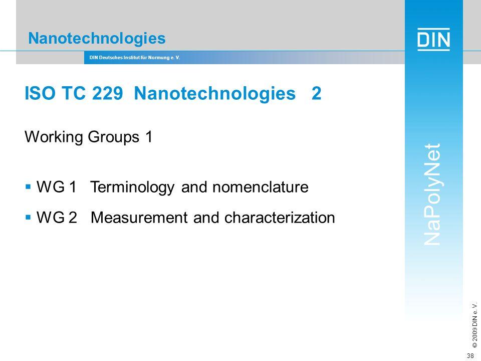 DIN Deutsches Institut für Normung e. V. NaPolyNet © 2009 DIN e. V. 38 Nanotechnologies ISO TC 229 Nanotechnologies 2 Working Groups 1 WG 1 Terminolog