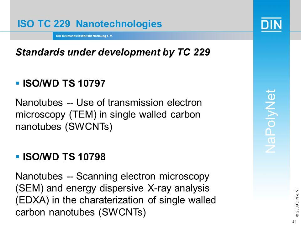 DIN Deutsches Institut für Normung e. V. NaPolyNet © 2009 DIN e. V. 41 ISO TC 229 Nanotechnologies Standards under development by TC 229 ISO/WD TS 107