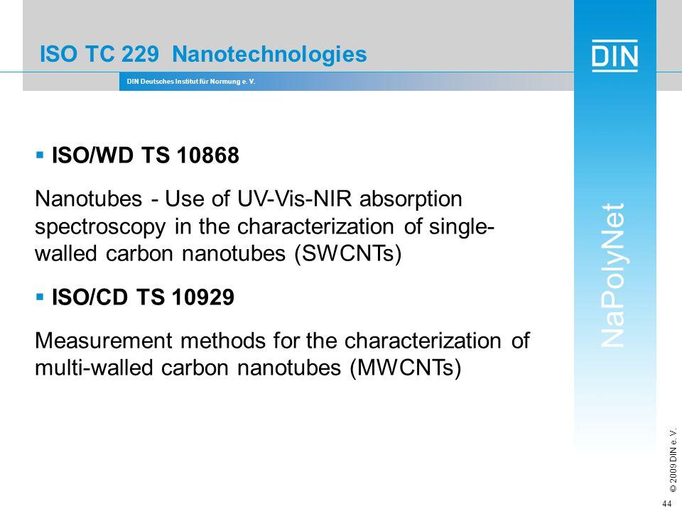 DIN Deutsches Institut für Normung e. V. NaPolyNet © 2009 DIN e. V. 44 ISO TC 229 Nanotechnologies ISO/WD TS 10868 Nanotubes - Use of UV-Vis-NIR absor