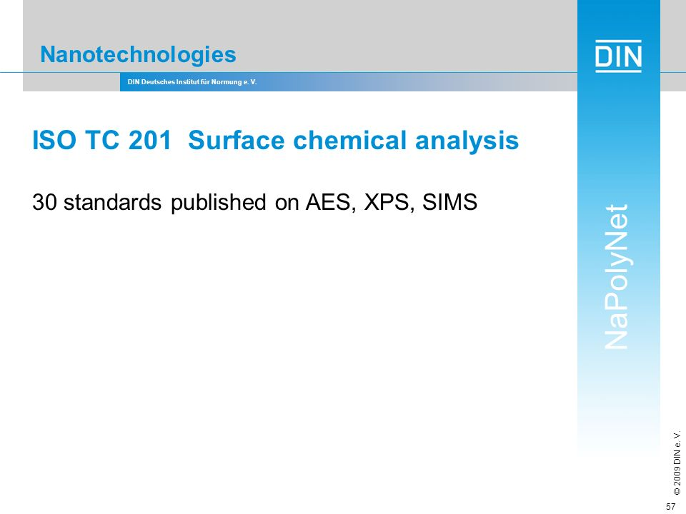 DIN Deutsches Institut für Normung e. V. NaPolyNet © 2009 DIN e. V. 57 Nanotechnologies ISO TC 201 Surface chemical analysis 30 standards published on