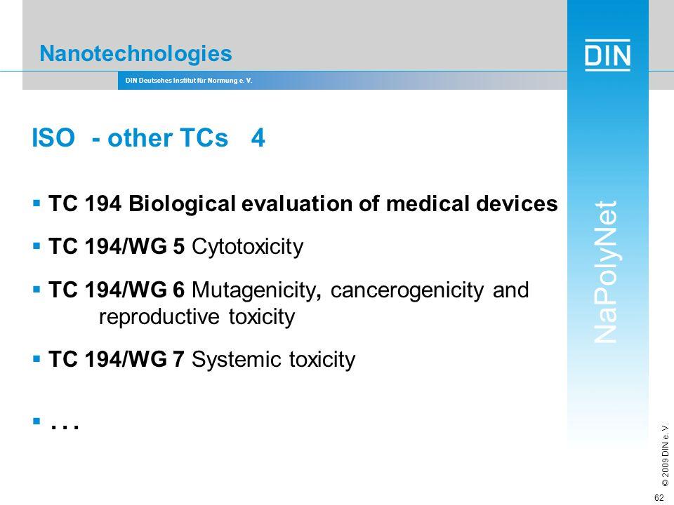 DIN Deutsches Institut für Normung e. V. NaPolyNet © 2009 DIN e. V. 62 Nanotechnologies ISO - other TCs 4 TC 194 Biological evaluation of medical devi