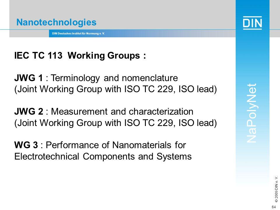 DIN Deutsches Institut für Normung e. V. NaPolyNet © 2009 DIN e. V. 64 Nanotechnologies IEC TC 113 Working Groups : JWG 1 : Terminology and nomenclatu