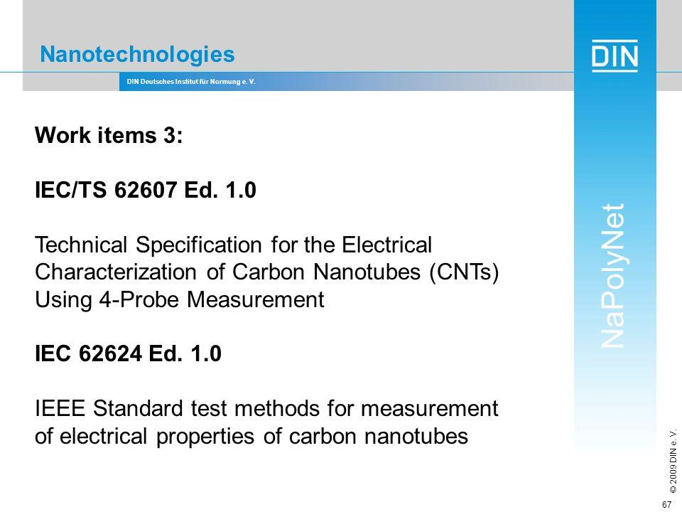 DIN Deutsches Institut für Normung e. V. NaPolyNet © 2009 DIN e. V. 67 Nanotechnologies Work items 3: IEC/TS 62607 Ed. 1.0 Technical Specification for