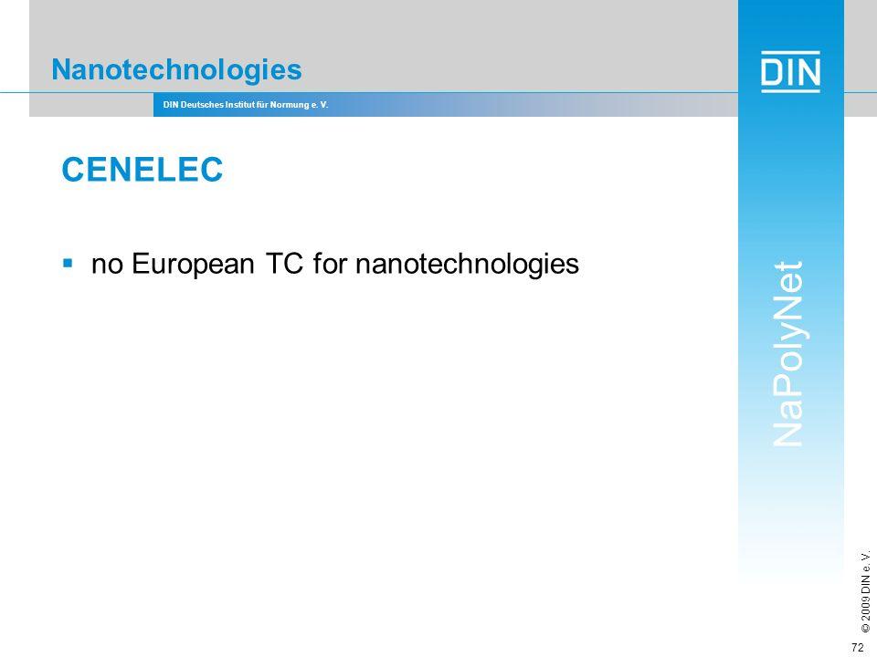 DIN Deutsches Institut für Normung e. V. NaPolyNet © 2009 DIN e. V. 72 Nanotechnologies CENELEC no European TC for nanotechnologies