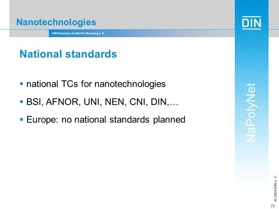 DIN Deutsches Institut für Normung e. V. NaPolyNet © 2009 DIN e. V. 73 Nanotechnologies National standards national TCs for nanotechnologies BSI, AFNO
