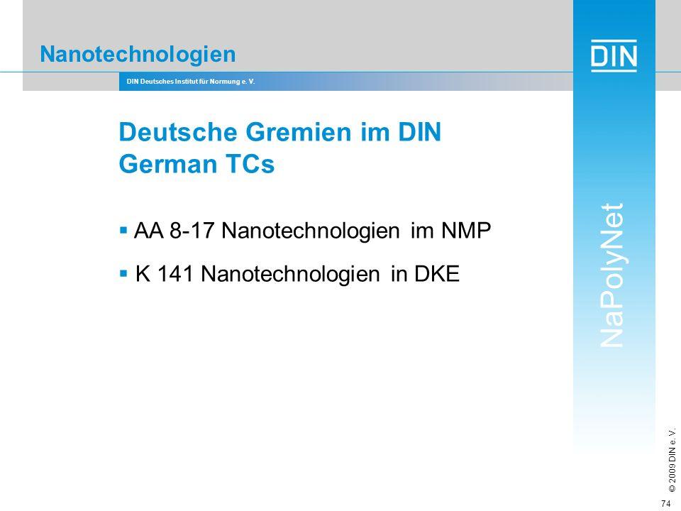 DIN Deutsches Institut für Normung e. V. NaPolyNet © 2009 DIN e. V. 74 Nanotechnologien Deutsche Gremien im DIN German TCs AA 8-17 Nanotechnologien im