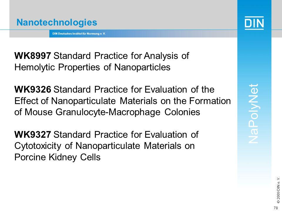DIN Deutsches Institut für Normung e. V. NaPolyNet © 2009 DIN e. V. 78 Nanotechnologies WK8997 Standard Practice for Analysis of Hemolytic Properties