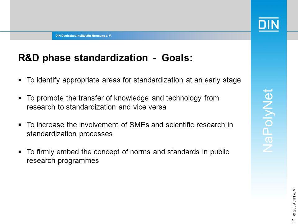 DIN Deutsches Institut für Normung e. V. NaPolyNet © 2009 DIN e. V. 8 R&D phase standardization - Goals: To identify appropriate areas for standardiza
