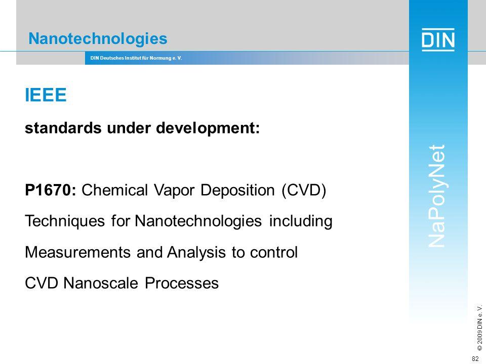 DIN Deutsches Institut für Normung e. V. NaPolyNet © 2009 DIN e. V. 82 Nanotechnologies IEEE standards under development: P1670: Chemical Vapor Deposi