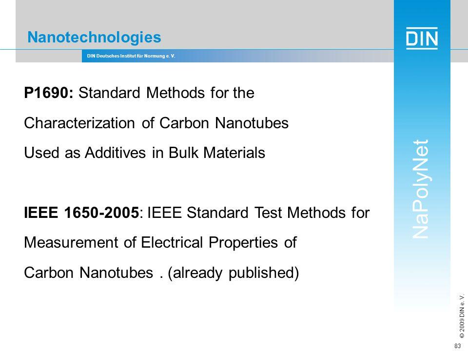 DIN Deutsches Institut für Normung e. V. NaPolyNet © 2009 DIN e. V. 83 Nanotechnologies P1690: Standard Methods for the Characterization of Carbon Nan