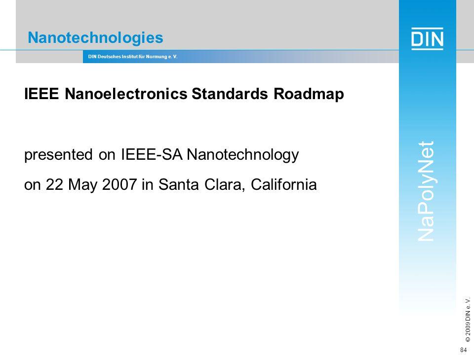 DIN Deutsches Institut für Normung e. V. NaPolyNet © 2009 DIN e. V. 84 Nanotechnologies IEEE Nanoelectronics Standards Roadmap presented on IEEE-SA Na