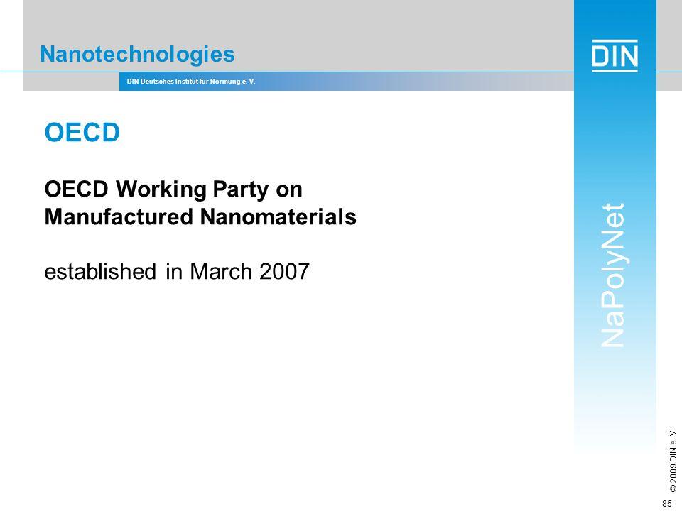 DIN Deutsches Institut für Normung e. V. NaPolyNet © 2009 DIN e. V. 85 Nanotechnologies OECD OECD Working Party on Manufactured Nanomaterials establis