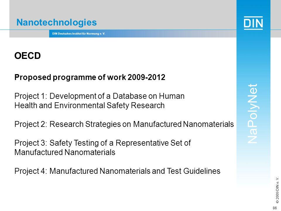 DIN Deutsches Institut für Normung e. V. NaPolyNet © 2009 DIN e. V. 86 Nanotechnologies OECD Proposed programme of work 2009-2012 Project 1: Developme