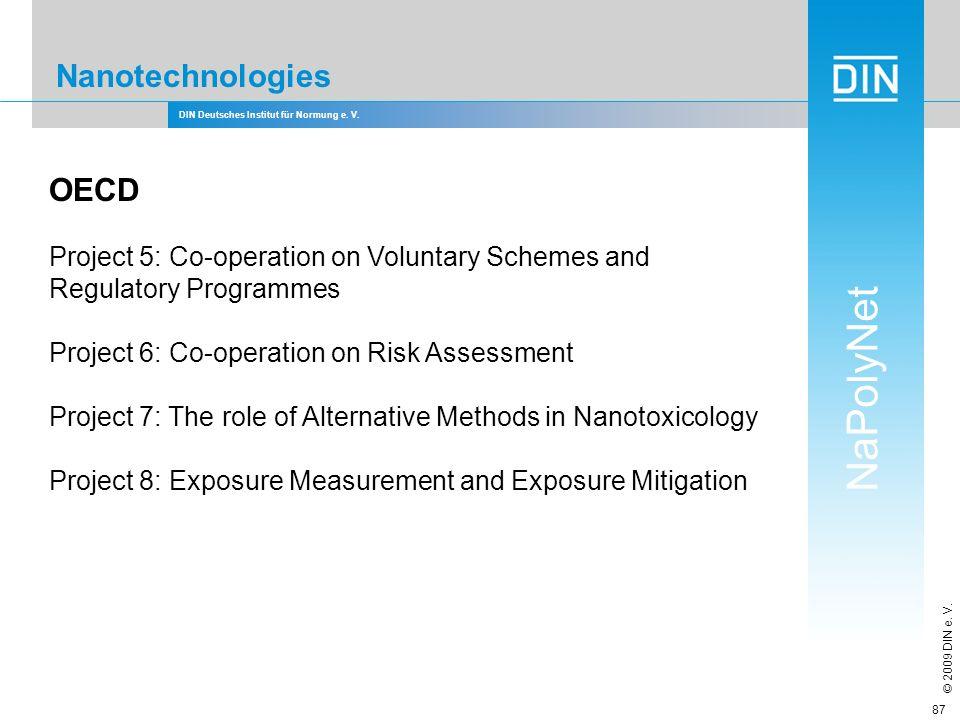 DIN Deutsches Institut für Normung e. V. NaPolyNet © 2009 DIN e. V. 87 Nanotechnologies OECD Project 5: Co-operation on Voluntary Schemes and Regulato