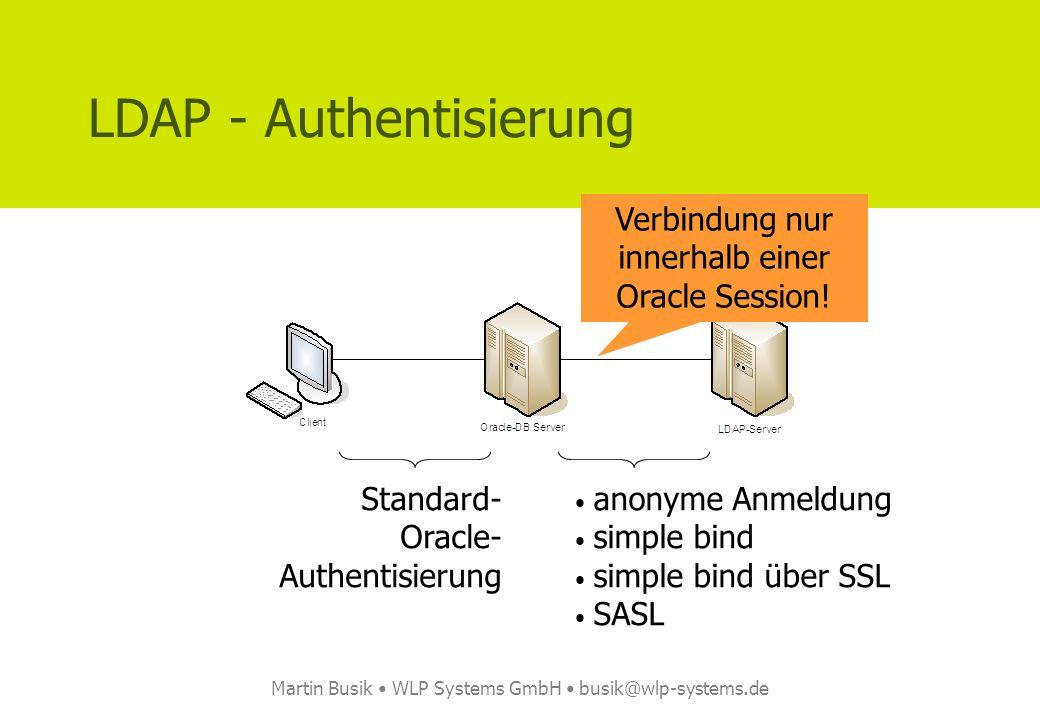 Martin Busik WLP Systems GmbH busik@wlp-systems.de Quellcode [6] – package body -- -- Diese Prozedur enthält das Mapping der LDAP-Attribute auf die Felder -- im T_LDAP_PERSON Typ.