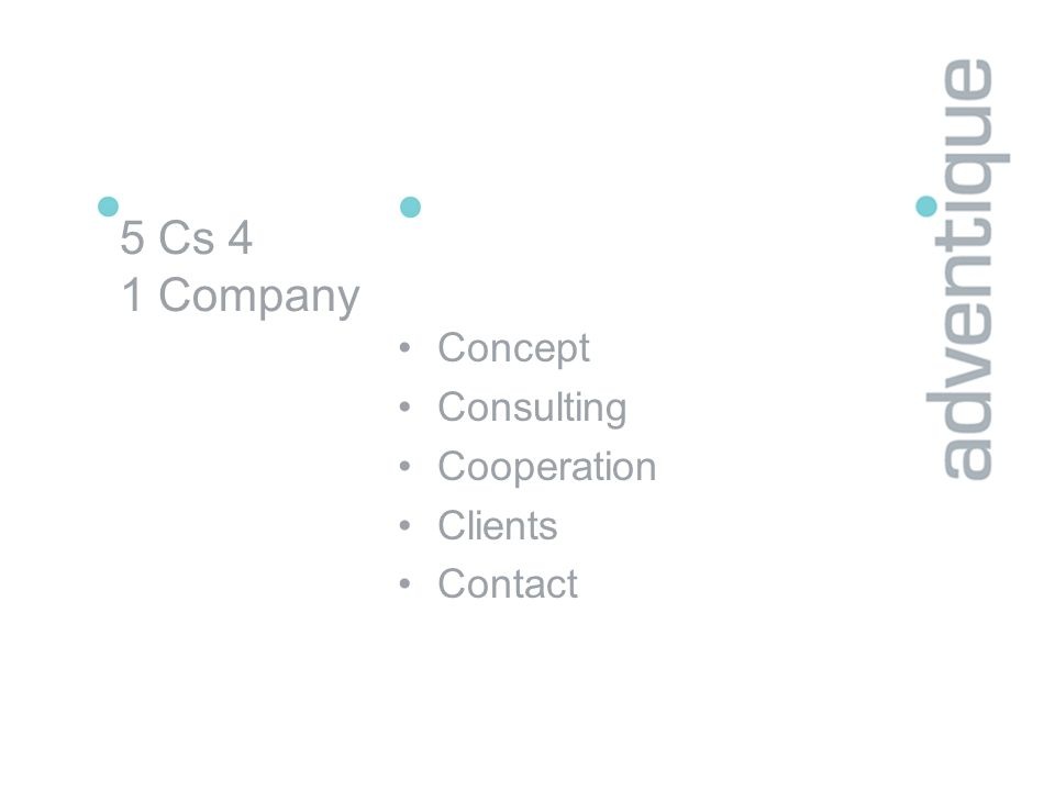 5 Cs 4 1 Company Concept Consulting Cooperation Clients Contact