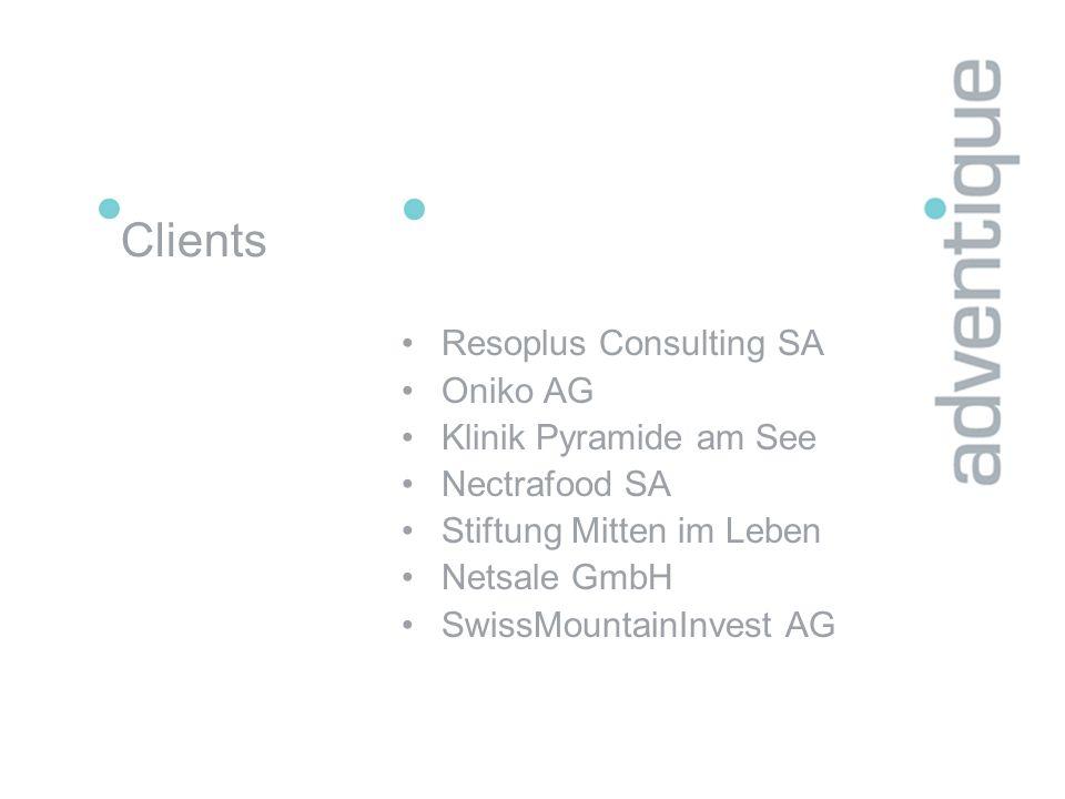 Clients Resoplus Consulting SA Oniko AG Klinik Pyramide am See Nectrafood SA Stiftung Mitten im Leben Netsale GmbH SwissMountainInvest AG