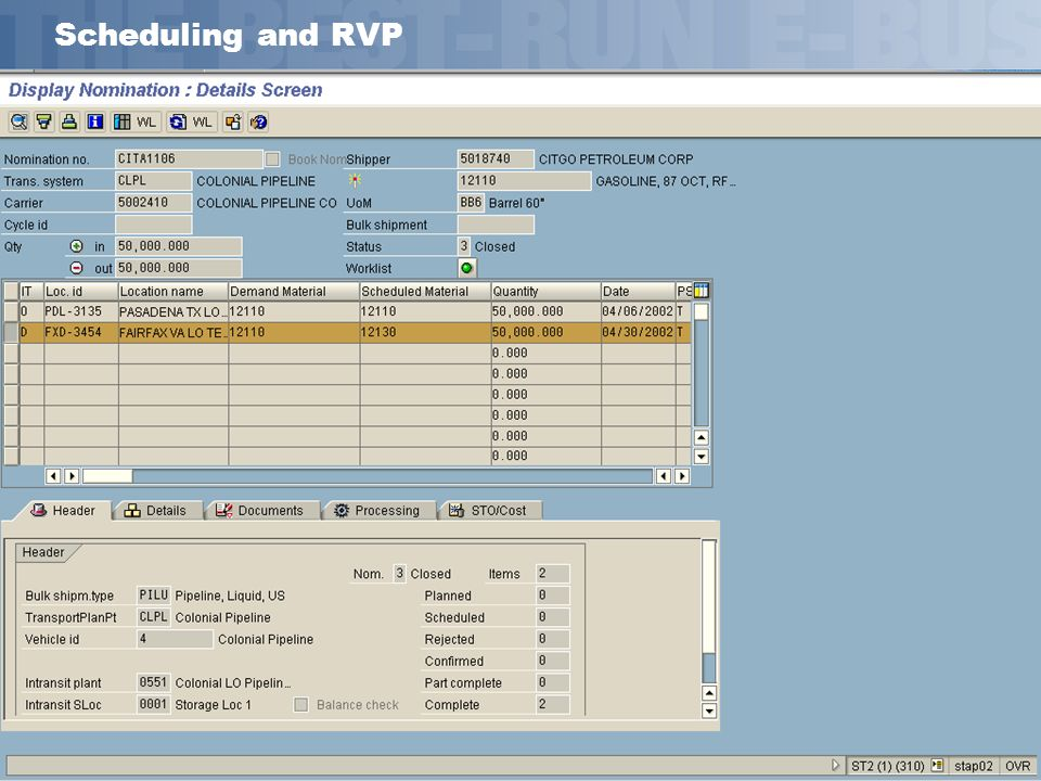 SAP AG 2002, Title of Presentation, Speaker Name 20 Scheduling and RVP