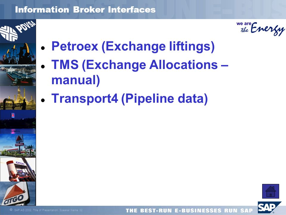 SAP AG 2002, Title of Presentation, Speaker Name 32 Information Broker Interfaces l Petroex (Exchange liftings) l TMS (Exchange Allocations – manual)