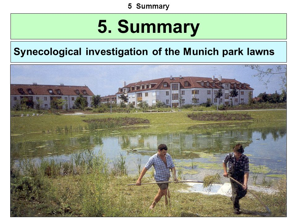 5. Summary 5 Summary Synecological investigation of the Munich park lawns The vegetation of the Munich park lawns is very similar; the faces are often