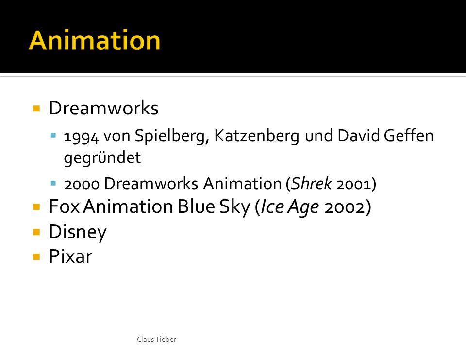 Dreamworks 1994 von Spielberg, Katzenberg und David Geffen gegründet 2000 Dreamworks Animation (Shrek 2001) Fox Animation Blue Sky (Ice Age 2002) Disney Pixar Claus Tieber