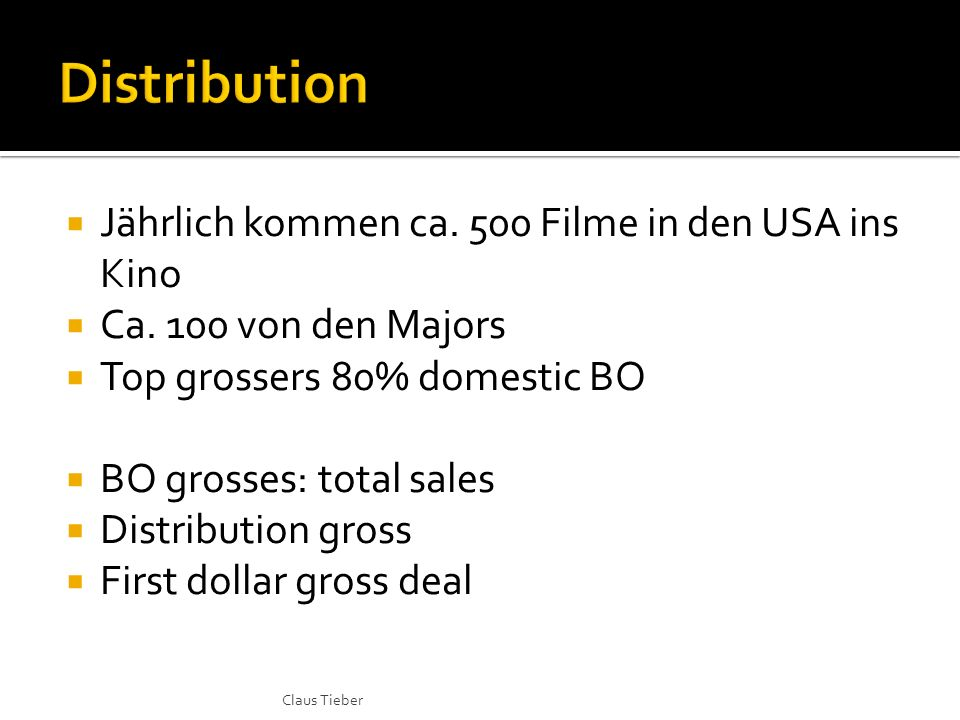 Jährlich kommen ca. 500 Filme in den USA ins Kino Ca. 100 von den Majors Top grossers 80% domestic BO BO grosses: total sales Distribution gross First