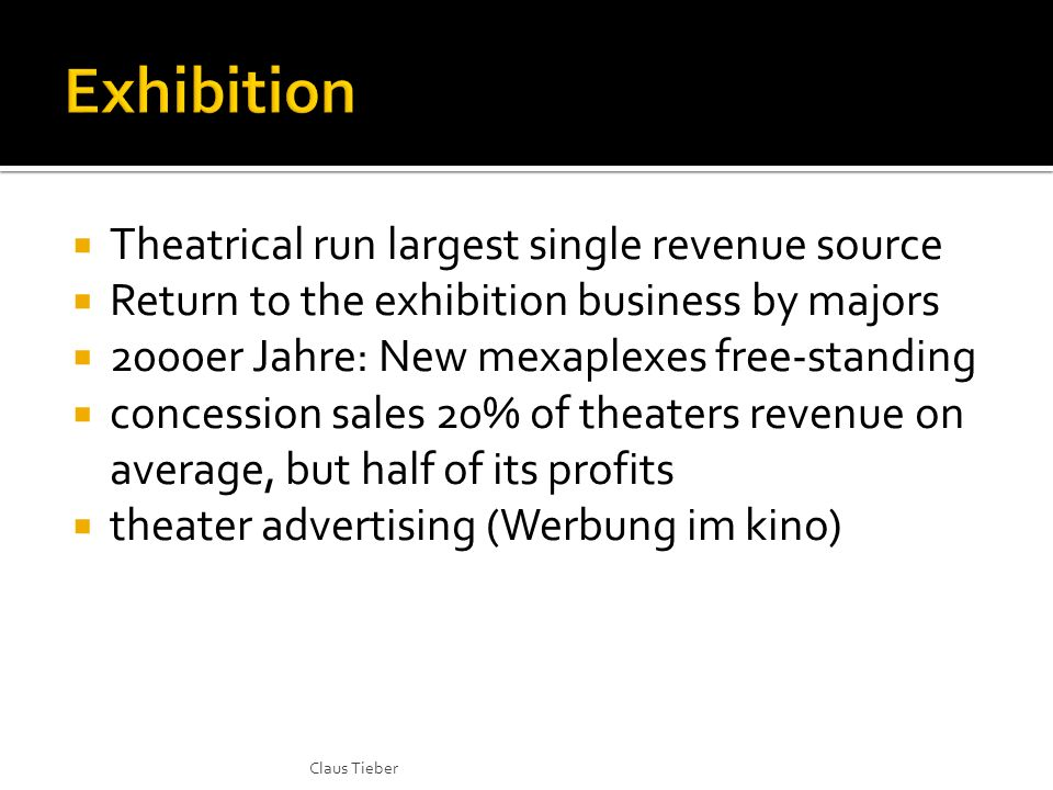 Theatrical run largest single revenue source Return to the exhibition business by majors 2000er Jahre: New mexaplexes free-standing concession sales 20% of theaters revenue on average, but half of its profits theater advertising (Werbung im kino) Claus Tieber
