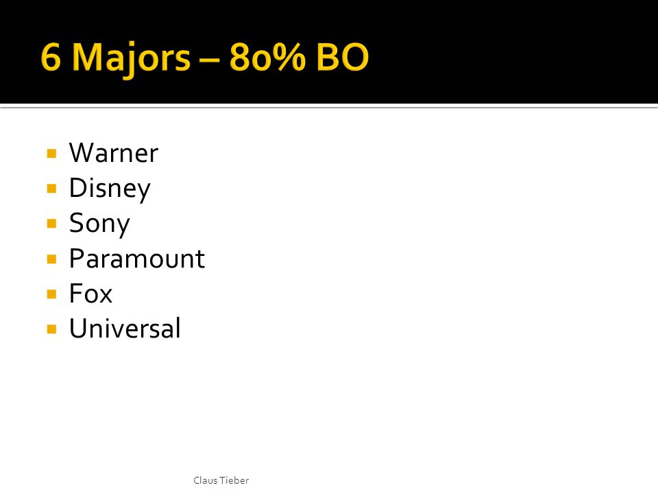 Warner Disney Sony Paramount Fox Universal Claus Tieber