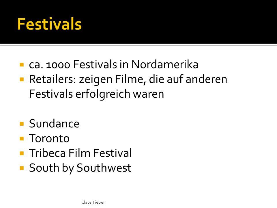 ca. 1000 Festivals in Nordamerika Retailers: zeigen Filme, die auf anderen Festivals erfolgreich waren Sundance Toronto Tribeca Film Festival South by