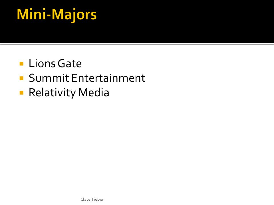Lions Gate Summit Entertainment Relativity Media Claus Tieber