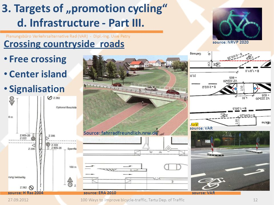 Planungsbüro Verkehrsalternative Rad (VAR) - Dipl.-Ing. Uwe Petry 3. Targets of promotion cycling d. Infrastructure - Part III. 1227.09.2012 Crossing