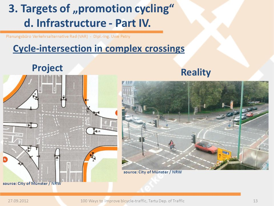 Planungsbüro Verkehrsalternative Rad (VAR) - Dipl.-Ing. Uwe Petry 3. Targets of promotion cycling d. Infrastructure - Part IV. 13 Cycle-intersection i