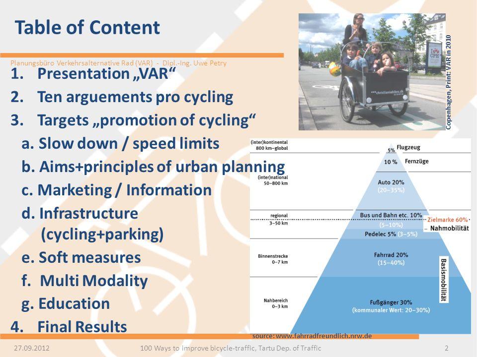 Planungsbüro Verkehrsalternative Rad (VAR) - Dipl.-Ing. Uwe Petry Table of Content 100 Ways to improve bicycle-traffic, Tartu Dep. of Traffic2 1.Prese