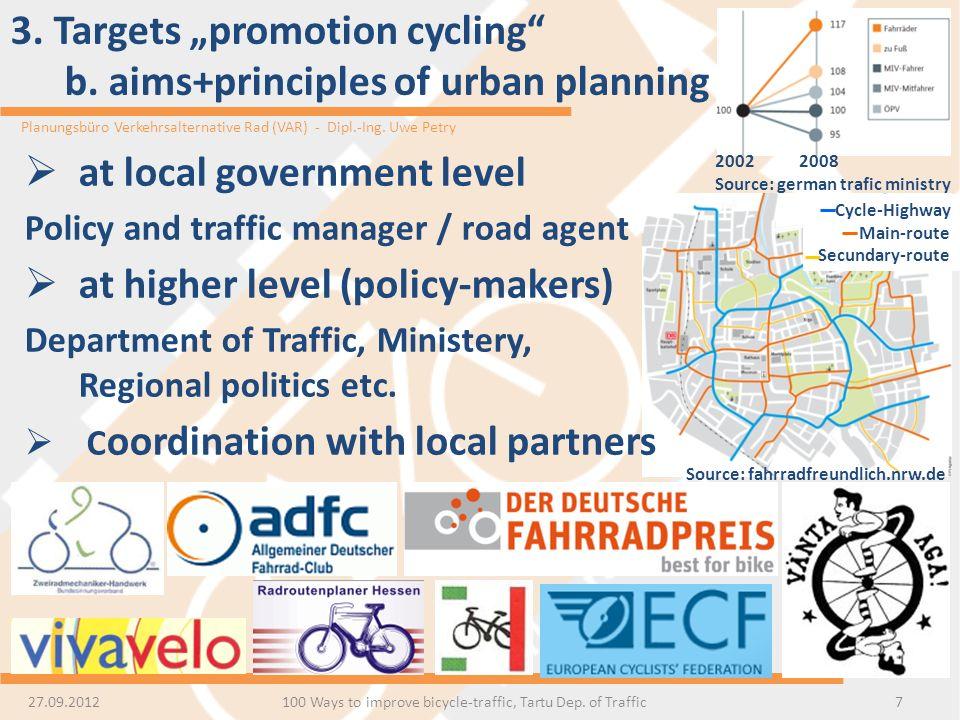 Planungsbüro Verkehrsalternative Rad (VAR) - Dipl.-Ing. Uwe Petry 3. Targets promotion cycling b. aims+principles of urban planning 7 at local governm