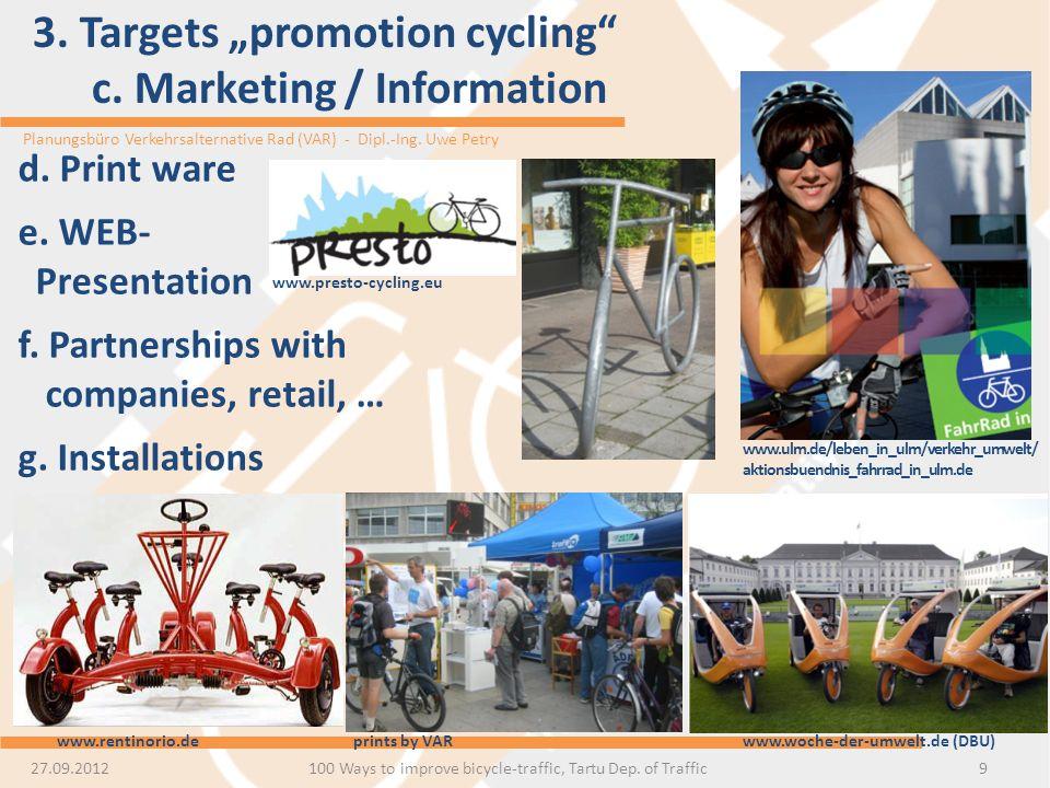 Planungsbüro Verkehrsalternative Rad (VAR) - Dipl.-Ing. Uwe Petry 3. Targets promotion cycling c. Marketing / Information 9 d. Print ware e. WEB- Pres
