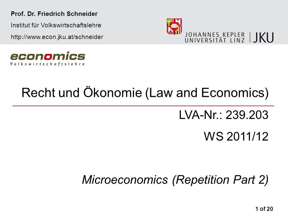 2 of 20 Recht und Ökonomie WS 2011/12Microeconomics – Repetition Part 2Prof.