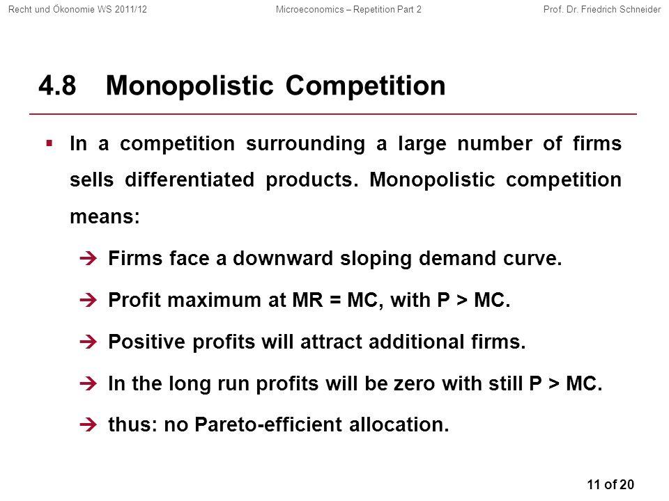 11 of 20 Recht und Ökonomie WS 2011/12Microeconomics – Repetition Part 2Prof. Dr. Friedrich Schneider 4.8Monopolistic Competition In a competition sur