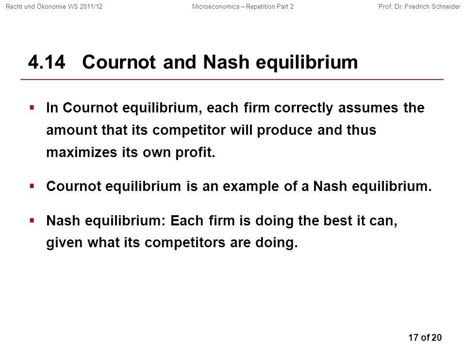 17 of 20 Recht und Ökonomie WS 2011/12Microeconomics – Repetition Part 2Prof. Dr. Friedrich Schneider 4.14 Cournot and Nash equilibrium In Cournot equ