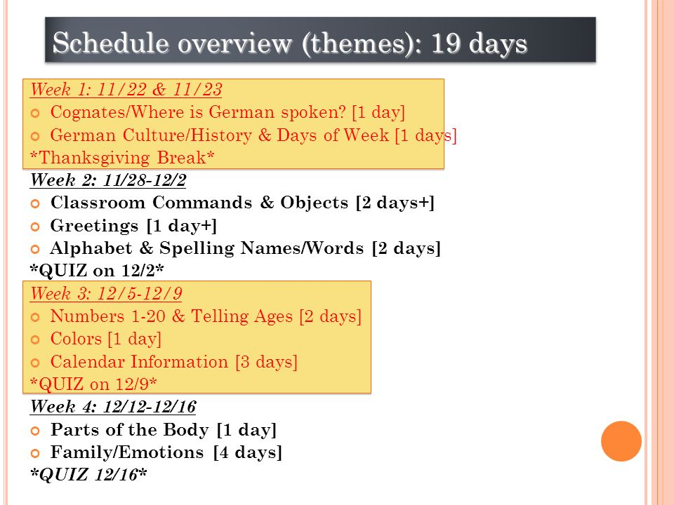 Schedule overview (themes): 19 days Week 1: 11/22 & 11/23 Cognates/Where is German spoken.
