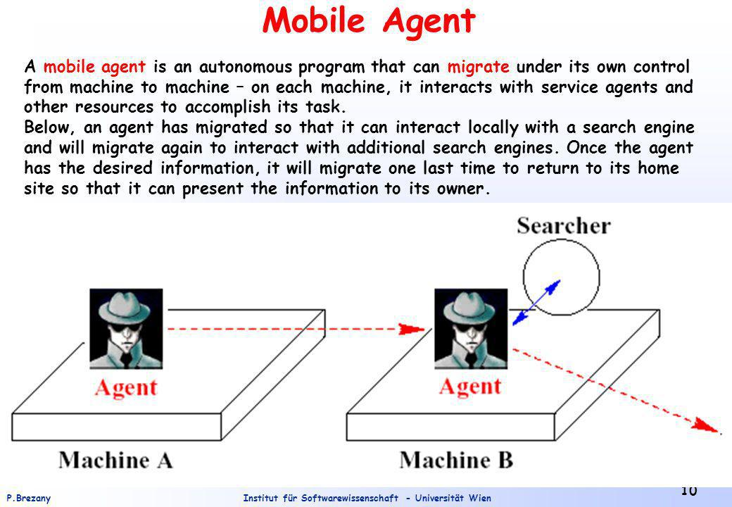 Institut für Softwarewissenschaft - Universität WienP.Brezany 10 Mobile Agent A mobile agent is an autonomous program that can migrate under its own control from machine to machine – on each machine, it interacts with service agents and other resources to accomplish its task.